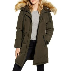 Sam Edelman Faux Fur Trim Down Green Parka